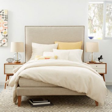West Elm Tall Upholstered Nailhead Bed