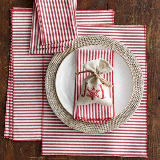 These peppermint napkins create a fresh, holiday look on any table.