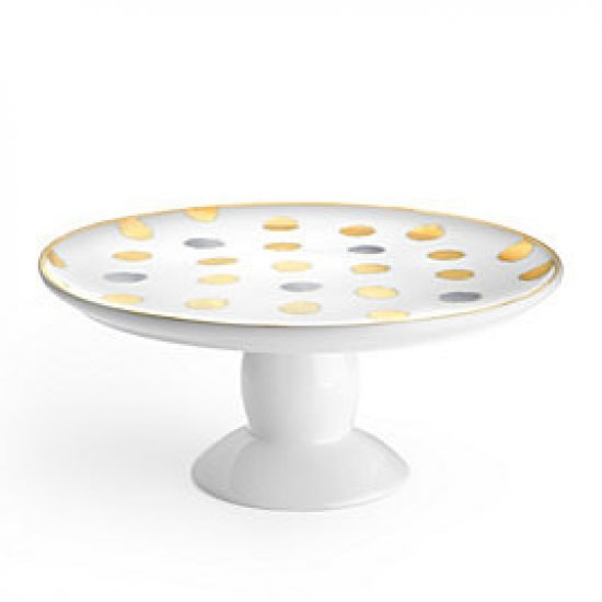 What a beautiful platter to serve cake or hors d'oeuvres.  Neutral enough to work with most place settings.
